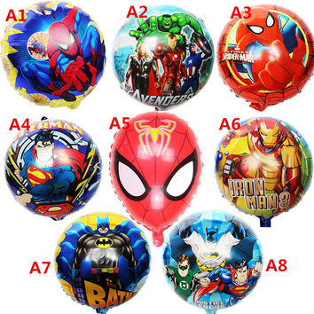 5pcs/lot Mixed hero balloons Avengers Spiderman Batman Supreman foil ballon Children birthday party supplies boy helium balls