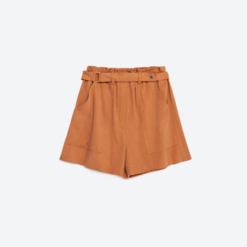 FLOWING SHORTS WITH BELT - SHORTS-WOMAN | ZARA United States