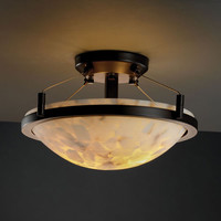 Justice Design Group ALR968035DBRZ Alabaster Rocks! Ring 14-InchTwo-Light Dark Bronze Round Semi-Flush Bowl With Ring