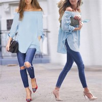 Casual Off-shoulder 3/4 Sleeve Blue Color Casual Leisure Club Loose Tops Blouse
