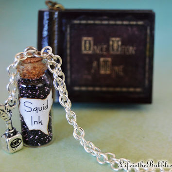 Squid Ink Magical Necklace with a Quill and Ink Charm, The Author, Dark One, Rumpelstiltskin, Storybrooke, Life is the Bubbles