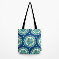 Blue & Cream Mandala  Tote Bag by Sarah Oelerich