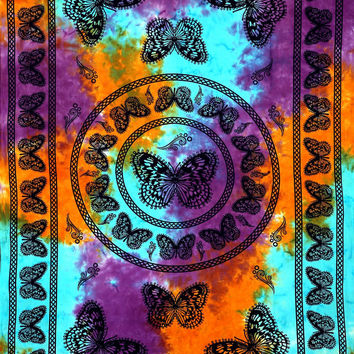 Indian Muiltcolor Buttterfly wall Tapestrys Cotton Hand Made Tie Dye Wall Hanging Tapestries Tiwn Hippie Gypsy Mother's Day GiftsTapestrys