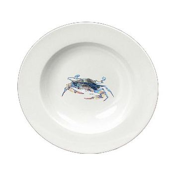 Blue Crab Blowing Bubbles Round Ceramic White Soup Bowl 8655-SBW-825