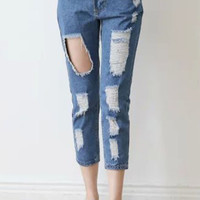 Blue Denim Frayed Cropped Pants