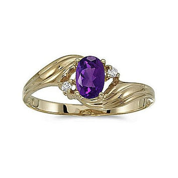 14k Yellow Gold Twist Diamond and Amethyst Ring
