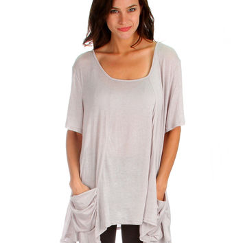 TAUPE TAKE IT BREEZY SCOOP NECK TUNIC TOP WITH PO