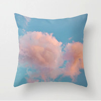 Cotton Candy Clouds - Pink Fluffy Clouds in Deep Blue sky - Sky Pillow Case - 16x16 18x18 20x20