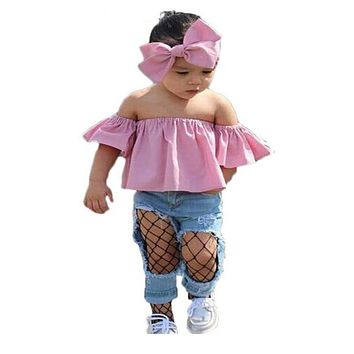 Children Clothing kid girl Summer Casual Headband+Off Shoulder Tee tops+Ripped Jeans 3pcs Sets Toddler Girl Clothes