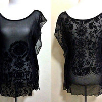 sheer black floral reversible kaftan top (small to medium), mesh swimsuit cover up, beach coverup