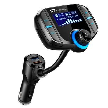ONETOW LUMAND Bluetooth FM Transmitter with QC 3.0, Wireless In-Car Radio Adapter Handsfree Car Kit with 1.7 Inch Display and Dual USB Car Charger AUX Input TF Card Slot