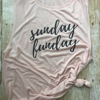 Sunday Funday//Workout Tank//Muscle Tank//Gift for Her//Gift Idea//Workout Gear//Sunday