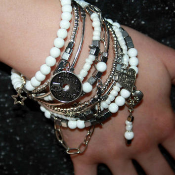 Arm candy stacked bracelets Endless love jewelry gift White silver bangle stack Symbol of prosperity and wealth stacking  layered armband