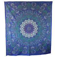 Handicrunch Hippie Mandala Tapestry, Blue Tapestry Wall Hanging, Indian Tapestry, Large Table Runner Bed Cover Indian Art, Cotton Bohemian Tapestry, Hippie Tapestry, Cotton Bed Sheet, Decor Art Wall Hanging