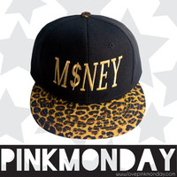 Money Cheetah Print Black Gold 3D Embroided Mens Unisex Womens Black Snapback Flat Bill Cap Hat Black Friday Cyber Monday SALE