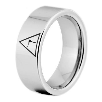 14th Degree MASONIC Silver Color Pipe Cut Tungsten Carbide Ring FREE Engraving