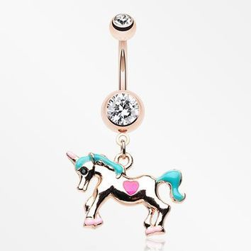 Rose Gold Unicorn Princess Belly Button Ring