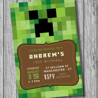 Minecraft Birthday Invitation, Minecraft Birthday Party, Mine Game Inspired Minecraft, Boys Invitation, Green (Printable file, download)
