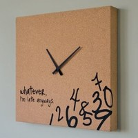 Cork Clock with Black Hands: Home & Kitchen