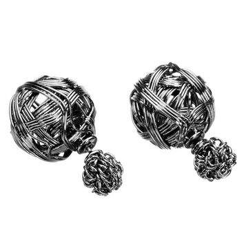 Double Sides Hollow Two Ball Ear Studs