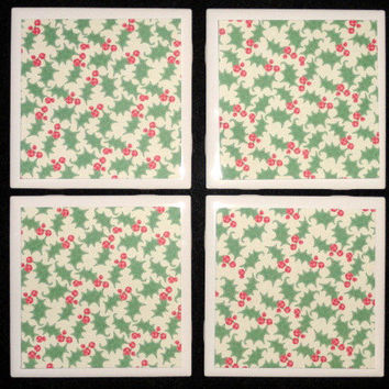 Tile Coasters- Coasters- Holiday Coaster- Winter Coaster- Christmas Home Decor- Christmas Holly Printed Tile Coasters- Set of 4