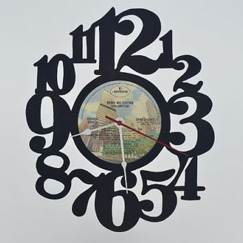 Handmade Vinyl Record Wall Clock (artist is Reba McEntire)