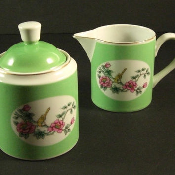 Shafford Porcelain Covered Sugar and Creamer / Butterflies Birds Botanicals