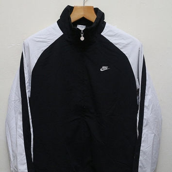 25% OFF Vintage NIKE Zipper Jacket Windbreaker Black + White Size L