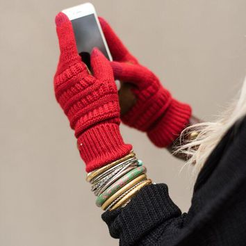 Knitted Texting Gloves - Red