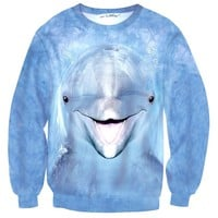 Realistic Dolphin Face All Over Print Unisex Pullover Sweater | Animal Themed Apparel