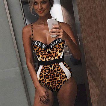 70af81cf68f3a Women One Piece Swimsuit 2019 Sexy Retro Floral Deep Plunge V N