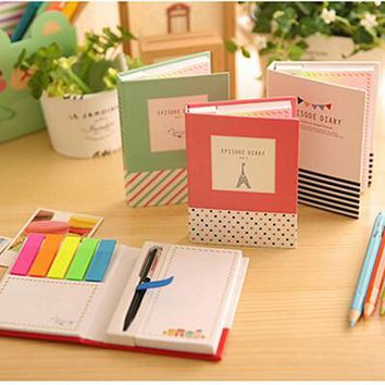 creative hardcover memo pad notepad sticky notes kawaii stationery diary notebook office school supplies + pen