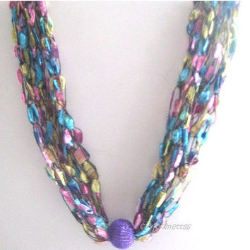 ON SALE Crochet Necklace Trellis Ribbon Ladder Yarn Necklace Boho Necklace Contemporary Jewelry