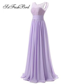 Sexy O Neck Sleeveless Open Back A Line Floor Length Chiffon Long Formal Party Evening Dresses Gowns Robe De Soiree