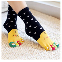 2017 Gilrs and women Lovely duck cartoon Soft Anime Cotton 5 Toes Socks Funky Socks Five fingers socks A pair