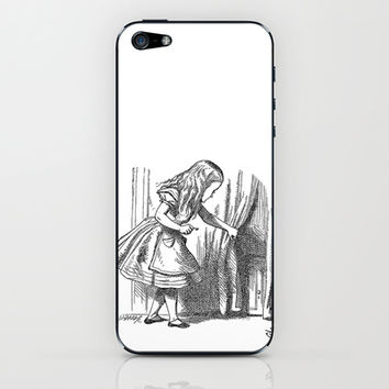 Vintage Alice in Wonderland 'looking for the door' antique book drawing emo goth fantasy gothic iPhone & iPod Skin by iGallery