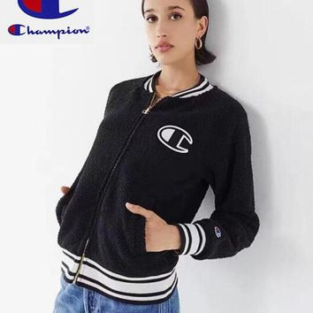 Champion Winter Fashionable Women Men Casual Lambs Wool Zipper Cardigan Sweatshirt Jacket Coat Black