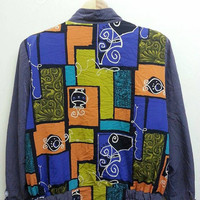 Vintage 1990s Royalty Swag Baroque Neon Colourfull Winbreaker Nylon Hip Hop Bomber Jackets