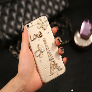 Luxury Phone Cases For Iphone 6 Cases Eiffel Tower Flower Love Bling Rhinestone Mobile Phone Case Cover for 4s 5s 6s plus 7 plus