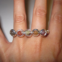 Beaded Rings Two Finger Ring Silver Plated Wire Wrapped