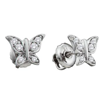 14kt White Gold Womens Round Diamond Butterfly Bug Screwback Stud Earrings 1/10 Cttw