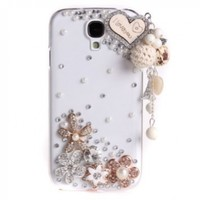 niceEshop 3D Bling Diamond Love Heart Clear Crystal Hard Case Cover For Samsung Galaxy S4 i9500
