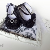Baby Shoes - Black Satin Rosette & Rhinestone Baby Shoes -Photo Prop, Wedding, Flower Girl, Easter, Crib Shoes, Bling