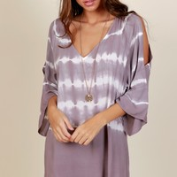 Forever Fun Tie Dye Dress Off White/Purple
