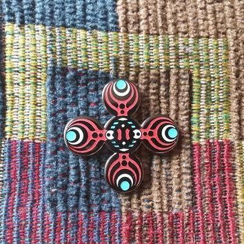 EDM Bass Music Festival Rave DJ Red Glow Sacred G Geometry Lapel Hat Pin