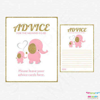 Pink and Gold Baby Shower, Advice for Mommy To Be, Elephant Baby Shower Girl, Mom Advice Cards, Baby Shower Invitation Inserts EL0004-lpg