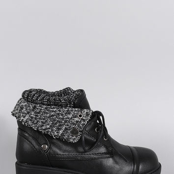 Bamboo Combat Sweater Cuff Lace-Up Booties
