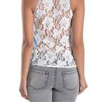 Lace Back Sleeveless Chambray Button Up Shirt