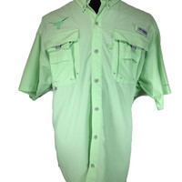 Columbia PFG Omni-Shade Fishing Shirt Lime Green Longhorns Logo Nylon - XL