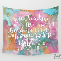 Spirit Lead Me - Inspirational Quote on Colorful Watercolor Tapestry Wall Hanging